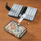 Pill Holder 14 day Medication Case TAPESTRY BLACK LILAC PLAID Organizer ~