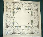 Arts & Crafts Mission Style Stickley Era Embroidered Tablecloth Peacocks AS IS
