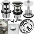 Chrome Bathroom Pop Up Basin Waste Sink Push Button Click Clack Plug Slotted Kit