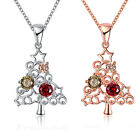 Colorful Christmas Tree Zircon Flower & Plant Modelling Bead Chain Necklace Hot
