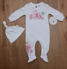 Burt's Bees Baby Girl Footed Coverall & Knot Top Hat Set ~ White, Pink & Green ~