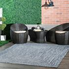 nuLOOM Handmade Modern Indoor Outdoor Braided Are Rug in Blue and White