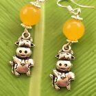yellow quartz  cow Earring Sterling Silver Hooks