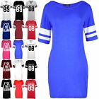 Womens Baggy Pj Dress Ladies Sports Stripe Baseball Bodycon Jersey Mini Dress