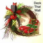 Red Lime Green Christmas Grapevine Wreath w Ice Skates, Deck That Wall