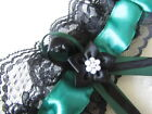 Handmade in UK Emerald Green Bridal Garter Black Lace and Flower. Hen Party.