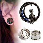 1 each Stainless Steel CAT Ear Plug Tunnel Body Jewelry 8-16mm Screw-on back