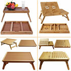 Folding Wooden Bed Bamboo Serving Lap Tray Lightweight Legs Table Breakfast Desk