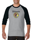 Gildan Raglan Tshirt 3/4 Sleeve City State Country Illinois State Seal 2018