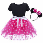 Childrens Girls Pink Red Minnie Mouse Kids Baby Girl Tutu Dress w/ Headband  O83