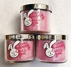 3 Bath Body Works SOME BUNNY LOVES YOU PINK BUBBLE GUM Mini Candle 1.5 oz 1-Wick