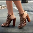 $250 Authentic Rare SCHUTZ Women's Cut Out Jaden Caged Suede Block Heel Sandals