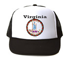 Trucker Hat Cap Foam Mesh USA State Seal Virginia Big