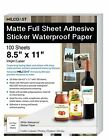 "Milcoast Matte Full Sheet 8.5 x 11"" Adhesive Tear Resistant Waterproof Paper"