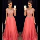 Long Chiffon Beaded Gown Formal Prom Party Pageant Bridal Wedding Dresss
