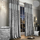 Luxury Diamante Crushed Velvet Curtain Pair Fully Lined Ring Top Silver