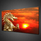 GOLDEN CHINESE DRAGON SUNSET CANVAS PICTURE PRINT WALL ART HOME DECOR