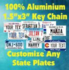 50 States Any Text Personalize Custom 15x3 Key Chain Tag License Plate