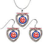 Chicago Cubs 925 Necklace / Earrings or Set Team Heart With Rhinestones on Ebay