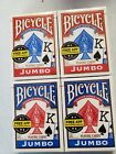 Bicycle Playng Cards 4 x Sealed Standard Size Jumbo Faced Packs