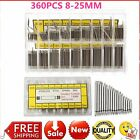8-25mm 360Pc Watch Band Spring Bars Strap Link Pins Watchmaker Stainless SteelHW