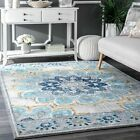 nuLOOM Contemporary Modern Floral Medallion Area Rug in Blue, Grey, Off White