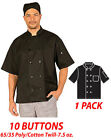 530BK-Classic Chef Coat Black Color Short Sleeve Chef Jacket - Black