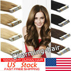 skin weft hair extensions - Tape In Seamless Skin Weft Real Remy Human Hair Extensions Blonde Black Grey 7A