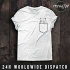 Cat Pocket Middle Finger T Shirt Rude Funny Animal Lover Kitty Kittens Meow
