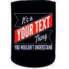 Stubby Holder - Your Text Thing Surname Personalised - Funny Novelty Christmas