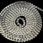 9.8M Rhinestone Chain Crystal Glass Gem Silver Cup Trim Ribbon Sparkle Diamante