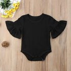 US STOCK Newborn Baby Girl Clothes Flared Sleeve Romper Jumpsuit Cotton Outfits