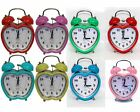 New Quartz Mini Desk Twin Bell Silent Heart Apple Shaped Alarm Clock Bedroom