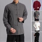 Chinois Chemise Homme Coton Lin manches longues GRENOUILLE BOUTON Kung Fu NEUF
