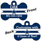 Dallas Cowboys Double Sided Pet Id Dog Tag Personalized w/ Name $11.67 USD on eBay