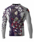 Raven Fightwear Men's Sakura MMA BJJ Long Sleeve Rash Guard White
