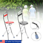 Stainless Steel Portable Folding Walking Stick Chair Seat Stool Travel Cane
