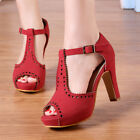Women's Vintage Suede Ankle High Heels Shoes T-Straps Dress Block Sandals Pumps