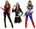 Ladies sexy captain america, Race Crew, race car/ drag race chequered jumpsuits