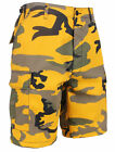 MENS YELLOW CAMO STINGER YELOW CAMO ROTHCO 65007 ARMY CARGO BDU SHORTS XS TO XL