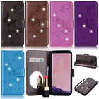 For Samsung A8 2018 S6 S7 S8 J3 Note 9 Bling Butterfly Wallet Leather Flip Case
