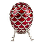 Red Pine Cone Musical Faberge Egg Replica with Elephant Made in Russia Gift Box