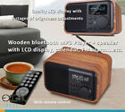 Wooden bluetooth MP3 Player stereo speaker w LCD display, calendar, FM Alarms