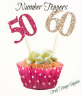 Cupcake Toppers any age Birthday 29 glitter colours 1 13 16 18 21 20 30 40 50