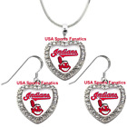 Cleveland Indians 925 Necklace / Earrings or Set Team Heart With Rhinestones on Ebay