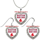 Boston Red Sox 925 Necklace / Earrings or Set Team Heart With Rhinestones on Ebay