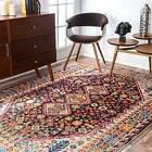 nuLOOM Traditional Vintage Vibrant Area Rug in Black, Yellow, Pink, Tan