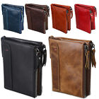 Men's RFID Block Crazy Horse Leather ID Window Zipper Coin Pocket Bifold Wallet