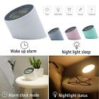 Table Desk USB Dimmable Bedside Night Light Lamp With Dual Alarm Clock Display