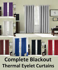 Thermal Complete Blackout Ring Top Eyelet Luxury Pair Curtains